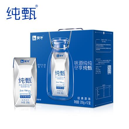 蒙牛 纯甄 (MENGNIU) 原味酸牛奶200g*12瓶