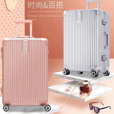 dwiray 轻奢时尚直角防刮拉杆箱(铝框)B63 银色 20寸