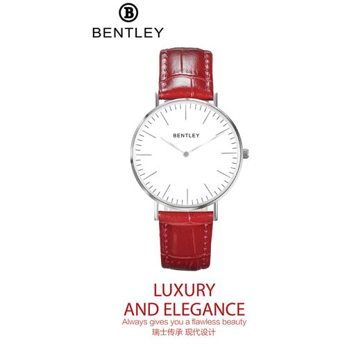 BENTLEY 红色鳄纹牛皮表带女士腕表BL520-1314LWWR