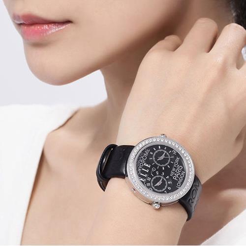 ELLE手表 女表潮流 时尚镶钻 舒适皮质表带 女士手表EL20038S06C