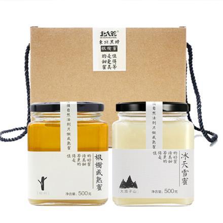 大荒 东北黑蜂 纯蜂蜜 椴树成熟蜜礼盒装1000g(冰天雪蜜500g+椴树成熟蜜500g)