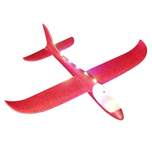 爸爸媽媽(babamama)滑翔飛機 大號48cm手擲手拋泡沫飛機 戶外拼插航模 紅色帶夜光燈 B2013 SY004