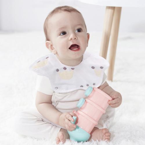 樂韻寶(leyunbaby)嬰兒口水巾寶寶圍嘴6層紗布360度旋轉吸水口水兜圍兜兒童飯兜4條裝