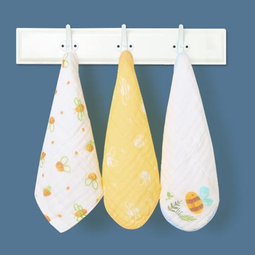 米樂魚 嬰兒口水巾寶寶紗布毛巾小方巾 新生嬰兒洗臉巾手帕子 蜜蜂3條