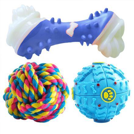 派樂特 寵物狗玩具狗狗金毛泰迪互動磨牙解悶耐咬狗玩具3件套顏色隨機