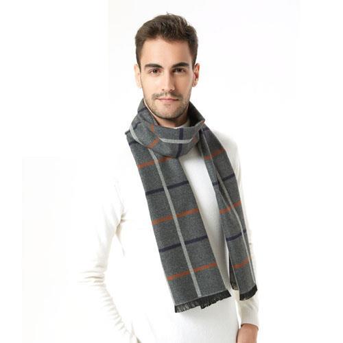 冬季经典百搭格子竹纤维男士围巾冬季加厚保暖围脖男款礼物