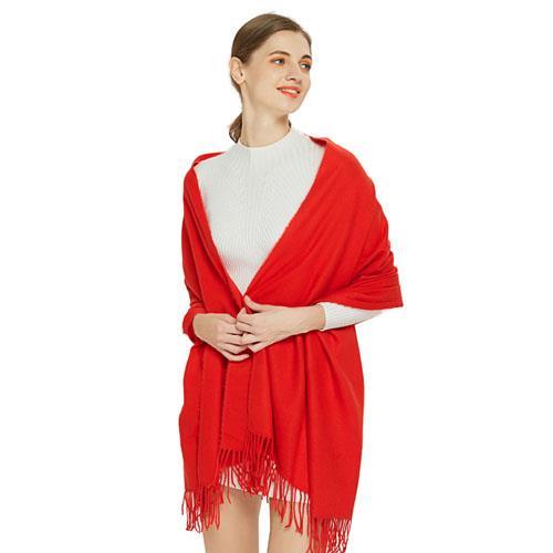 秋季新款女仿羊绒围巾保暖御寒舒适百搭围巾两用 纯色经典大围巾(女款)A-D3012  红色