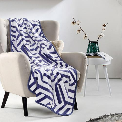 馨婷-简约格调家居毯  法兰绒毛毯被加厚床单毯子 办公室居家午睡毯空调被 蓝格100*150cm