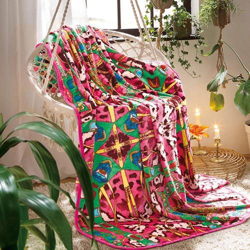 富安娜法兰绒毯  春秋冬亲肤柔软法兰绒毯  1.5*2米百变毯  一毯多用 摩登维那