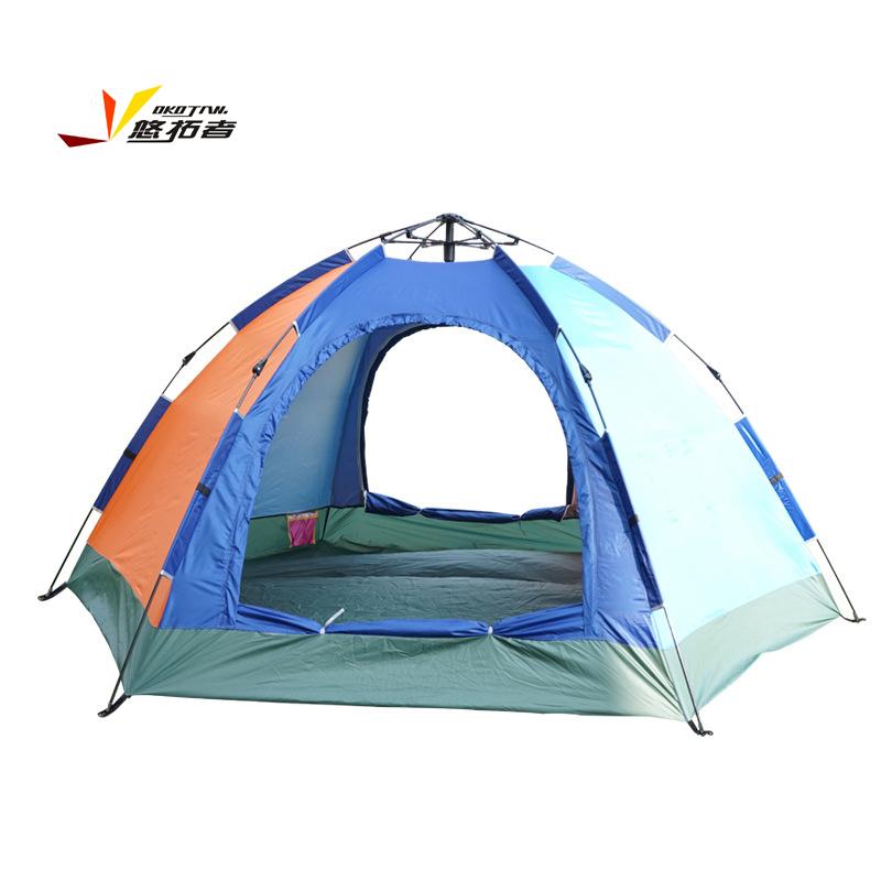 悠拓者 单层六角自动速开帐篷5-6人户外用品野营登山户外帐篷 单层单门帐篷 5-6人  YT-ZP007