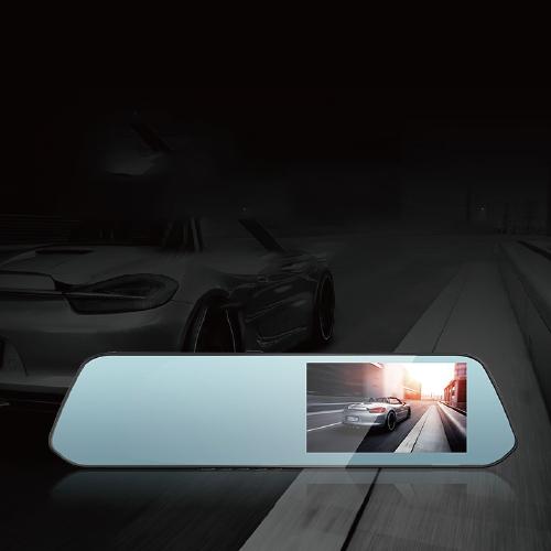 第1现场 D268高清行车记录仪4.39英寸IP高清显示屏前后双录倒车影像 自动循环录影