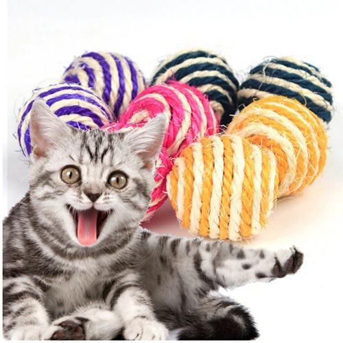 憨憨乐园 猫玩具剑麻球逗猫玩具 宠物玩具猫猫玩具 猫咪喜爱玩具磨爪玩具直径6.5cm颜色随机