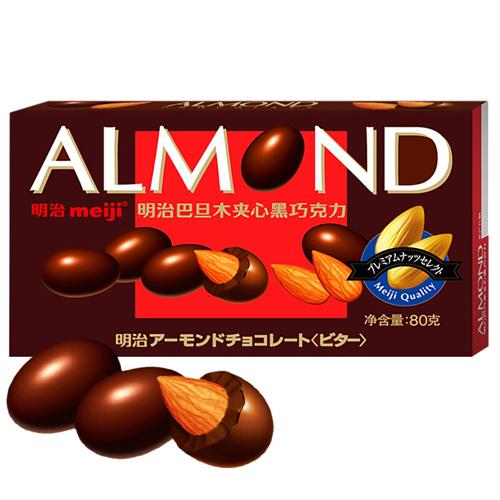 明治(Meiji)巴旦木夹心黑巧克力 80g