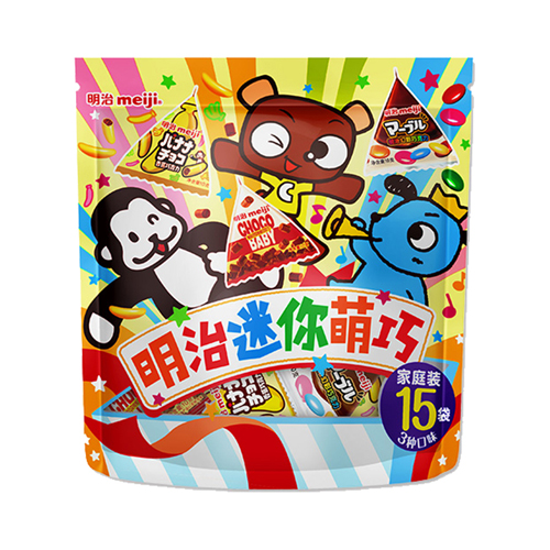 meiji明治三角包巧克力糖果 幻彩娃娃豆香蕉巧克力青提味草莓味橡皮糖 儿童零食 独立小包装携带方便 迷你萌巧三角包巧克力15袋家庭装150g