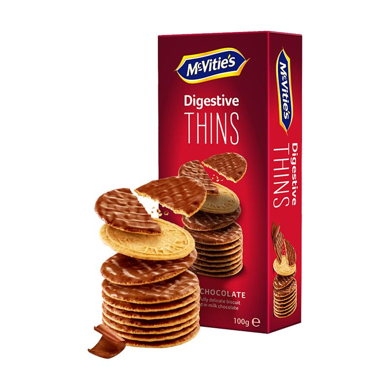 英国进口 麦维他(Mcvitie's)全麦牛奶巧克力涂层卡布奇诺味薄脆消化饼干100g 进口零食小吃