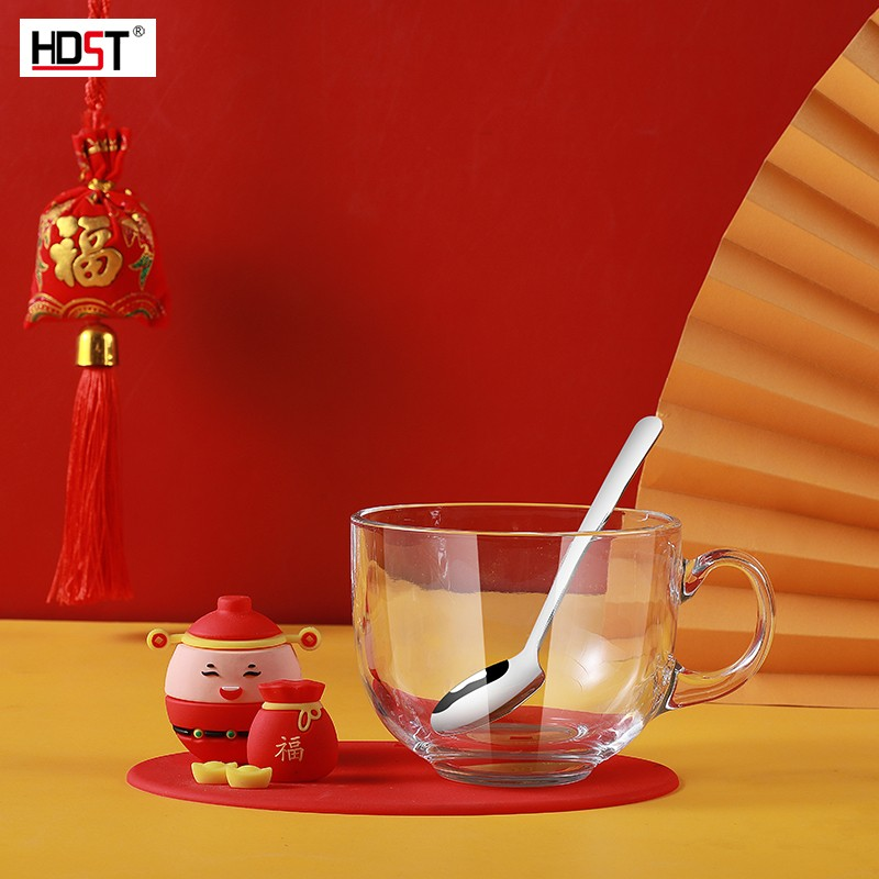华典世通(HDST)招财进宝 开业庆典促销活动礼品早餐杯牛奶玻璃杯勺子套装开门红礼品定制