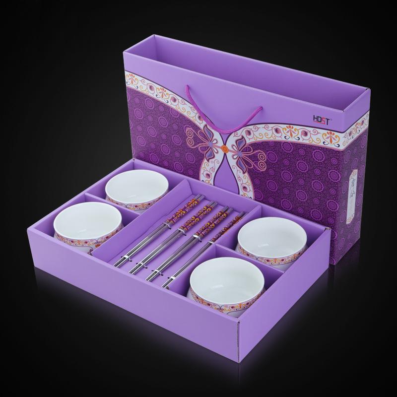 华典世通(HDST)唐风系列 八件组 不锈钢餐具碗筷套装礼盒 四碗四筷碗筷8件套