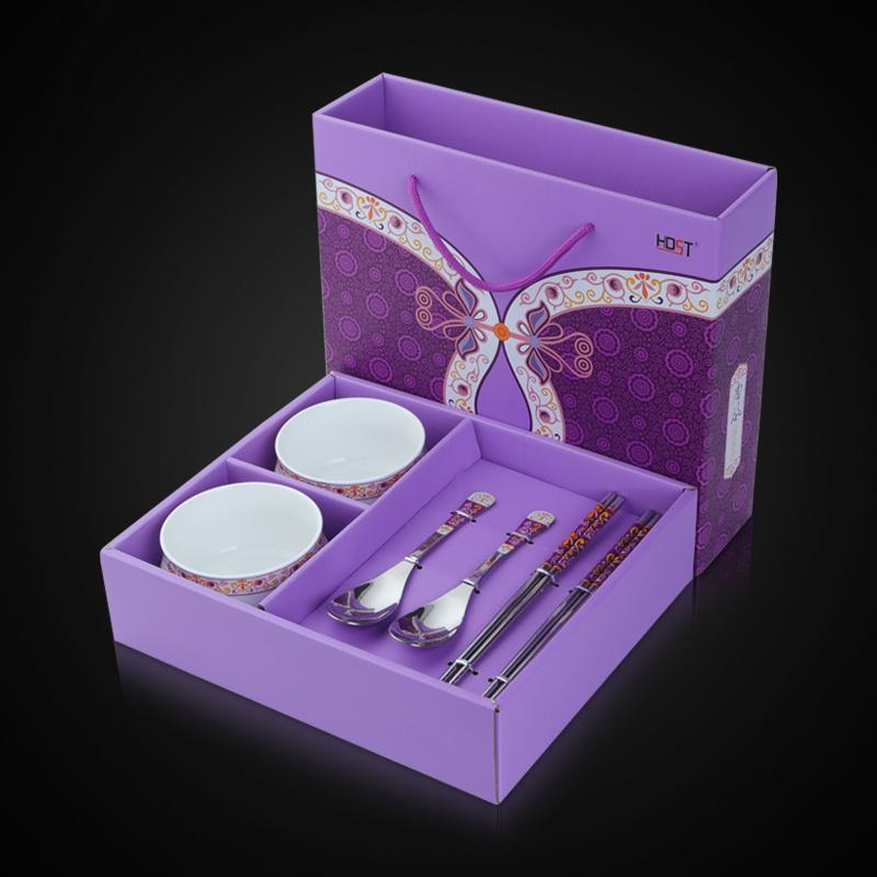 华典世通(HDST)唐风系列 六件组 不锈钢餐具碗筷套装礼盒 四碗四筷碗勺筷6件套