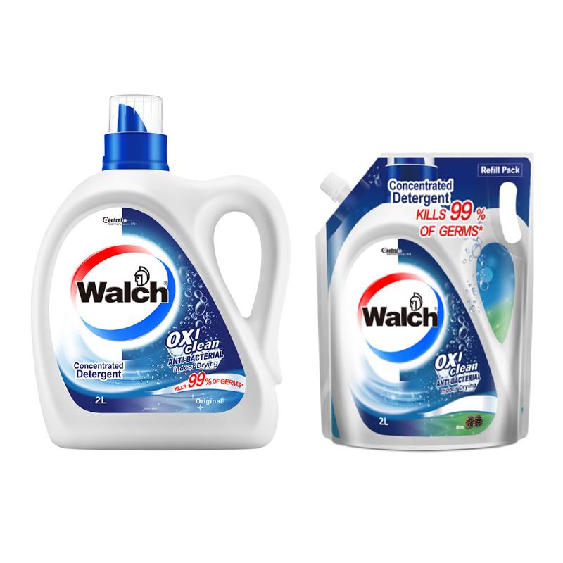 威露士 抗菌有氧洗衣液原味2L+袋装2L