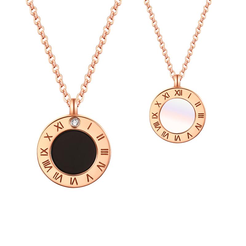 香港黄金极光-镀18K金双面贝母钻石项链约2.82g