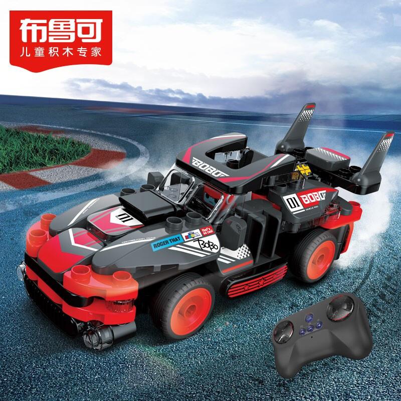 布鲁可 大颗粒积木 布鲁克5岁+男孩女孩儿童玩具百变布鲁可拼装积木车 交通工具系列-布布体感遥控赛车