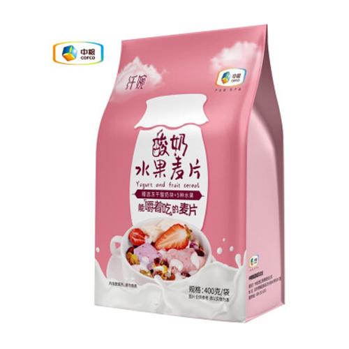 中粮纤婉燕麦片坚果水果酸奶味即食麦片营养早餐 酸奶水果麦片400g
